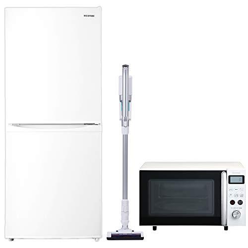 アイリスオーヤマ 新生活に必須の家電3点セット(冷蔵庫+オーブンレンジ+掃除機) ホワイト