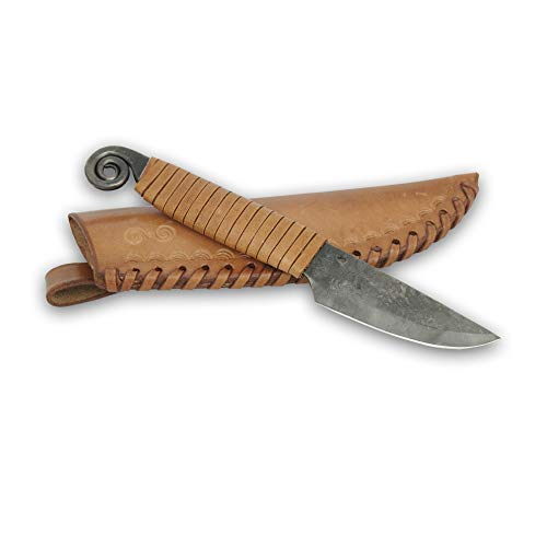 Madhammers Fixed Blade Knife By Steel Knife Snail Hand Forged Vintage Look Ultra Sharp Pointed Blade Elegant Antique Design Genuine Leather