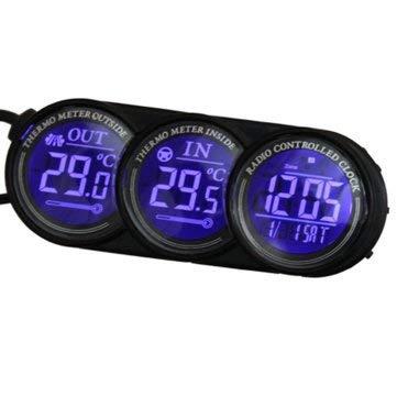 WZhen Coche Digital Led Azul Dentro del Calendario del Termómetro Reloj Cod