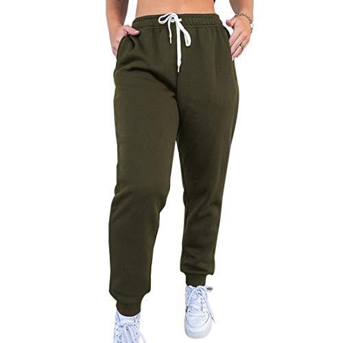 MoneRffi Damen Jogging-Sporthose für Damen Lange Hosen Loose Fit Elastischer Bund Freizeithose Jogginghose Hoher Trainingsanzug mit Taschen(B-Armeegrün,XL)