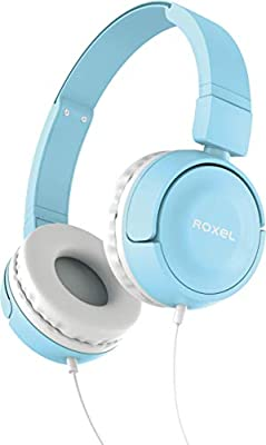 Roxel RX110 Powerful Bass Lightweight Wired Foldable Headphones with Mic, Ergonomic On Ear Headphone Compatible with Android and IOS Devices, Answer Incoming Calls (Blue) by Roxel