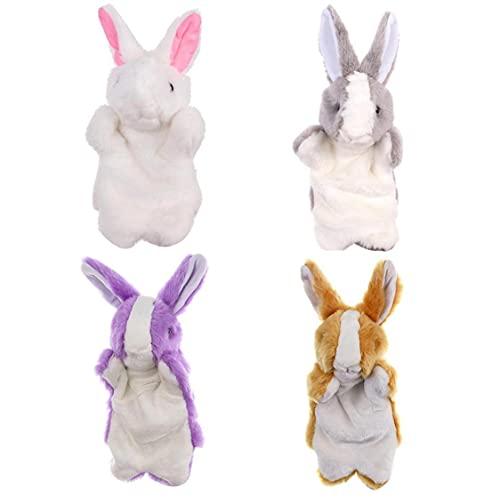 LAANCOO 4pcs Conejo Marionetas de Mano de Dibujos Animados Animales de Peluche Juguetes para un Rendimiento Juguete Interactivo para la Educación Marionetas del Dedo Juego Pretend