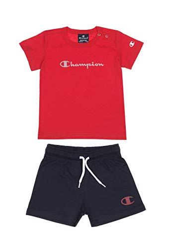Champion Conjunto de ropa para niño para correr, camiseta corta, deportiva, estilo de moda, para niños pequeños (rojo/azul marino, 92/18-24 meses)