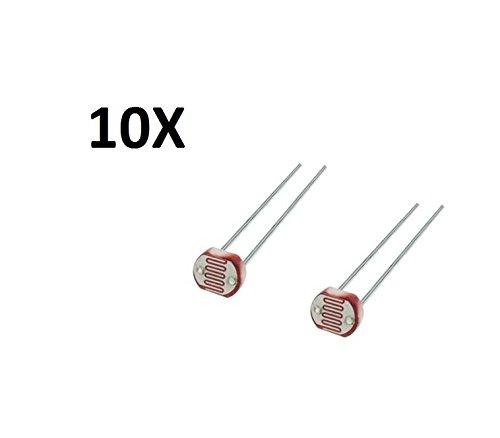 TecnoStore® 10 FOTORESISTENZA LDR sensore Luce ARDUINO fotocellula Solare GL5528 Resistenza