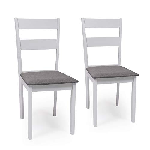Pack de 2 sillas de Comedor o Cocina Dallas Estructura Madera lacada Color Blanco Asiento tapizado Color Gris