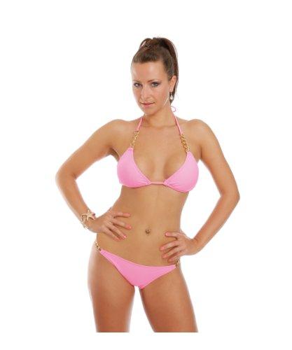Ongemo sexy Bikini Modell Aluna mit Ketten pink/rosa Größe L Damen Bikini-Set Bustier Zweiteilig Sommer Bademode Strand Badeanzug Swimsuit