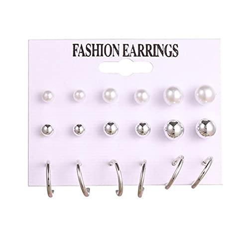 FEARRIN Pendientes de aro Vintage Pendientes de Color Dorado para Mujer Pendientes llamativos geométricos de círculo Redondo de Moda Conjunto de joyería de Fiesta Regalo H10-E569-2