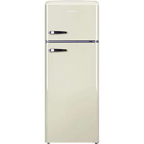 Amica FDR2213C Fridge Freezer Retro Style Freestanding 55 Centimeter Wide A Plus Energy Rating 40dB Noise Level 164 Litre Net Fridge Capacity (Cream)