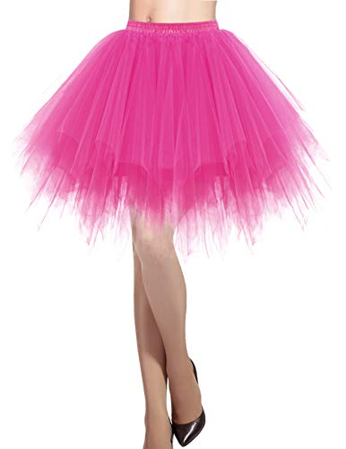 DRESSTELLS Damen Tüllrock 50er Rockabilly Petticoat Tutu Unterrock Kurz Ballett Tanzkleid Ballkleid Abendkleid Gelegenheit Zubehör Fuschia S