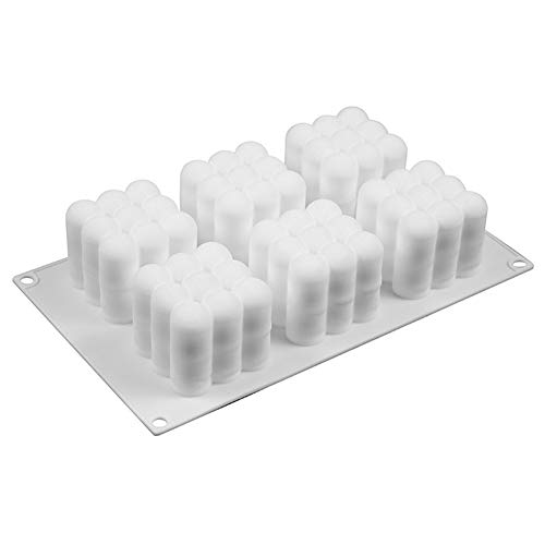 NGHSDO Candle Moulds 6 Cavities Silicone Candle Mould 3D Cube Square Bubble DIY Non-stick Kitchen Dessert Cake Tray Oven Cake Molds Candle Making