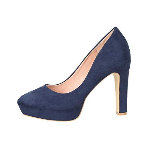 Elara Zapato de Tacón Alto para Mujer Vintage Chunkyrayan Azul E22360-Navy-40