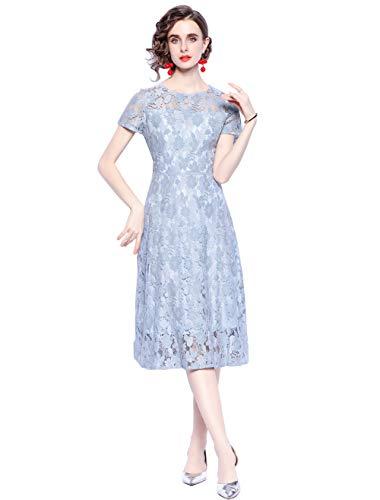 HAOKEKE Robe midi élégante en dentelle bleue pour femme - Bleu - Small
