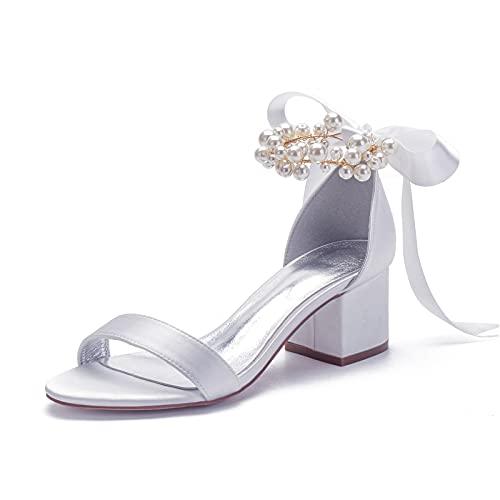 Gycdwjh Elegante Zapatos de Novia, Zapatos de Boda para Mujer con Lazo...