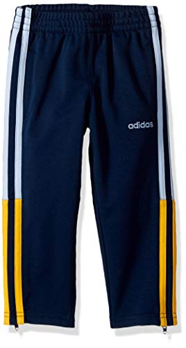 adidas Boys' Toddler Tapered Trainer Pant, 3 Stripe Navy/Blue/Gold, 3T