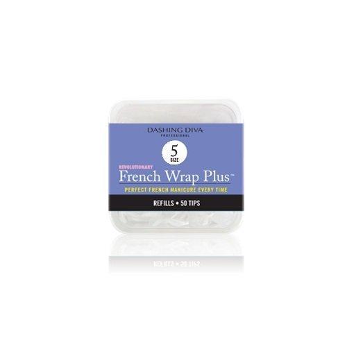 Dashing Diva French Wrap Plus Thin Nail Strips White, Size No.5, 50 Count by Dashing Diva
