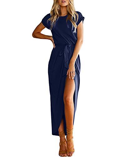 YOINS Damen Kleider Strandkleid Winterkleid Strickkleider für Damen Maxikleid Abendkleider Elegant Jerseykleider Weihnachtskleid Rundhals mit Gürtel