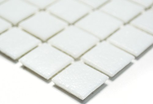 Mosaik Quadrat uni weiß Glasmosaik mit Effekt Spots Fliesenspiegel, Mosaikstein Format: 20x20x4 mm, Bogengröße: 60 x 100 mm, 1 Handmuster ca. 6x10 cm