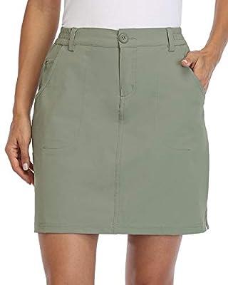Willit Women's Outdoor Skort Golf Skort Casual Skort Skirt UPF 50+ Quick Dry Zip Pockets Active Hiking Sage Green L