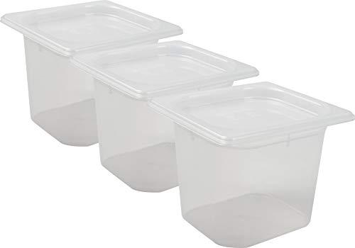 San Jamar MP16RD Mod Pans 1/6 Food Pan with Lid, Retail Pack, 2 Quart (Pack of 3)