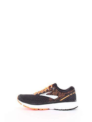Brooks Mens Ghost 11 Running Shoe - Black/Silver/Orange - D - 7.5