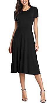 Urban CoCo Women s Short Sleeve Waisted Slim Fit Midi Dress  XL Black