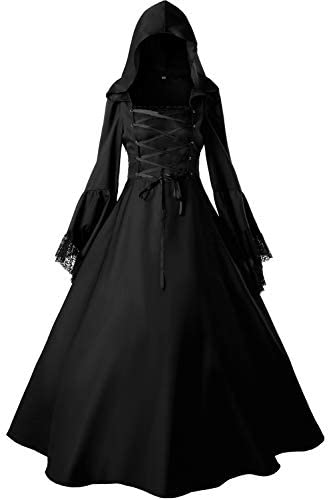 Loli Miss Women s Gothic Witch Vampire Dress Renaissance Medieval Cosplay Hooded Costume Halloween product image