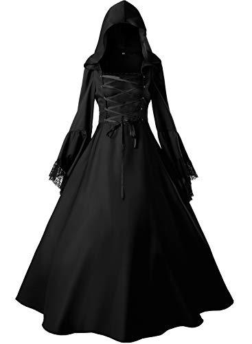 Loli Miss Women's Gothic Witch Vampire Dress Renaissance Medieval Cosplay Hooded Costume Halloween XXL Black