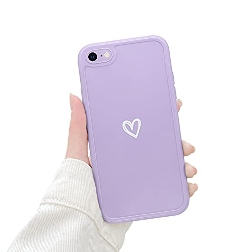 Newseego Morbido TPU Custodia Compatibile per iPhone 7/8 Se, Carino Heart iPhone 7/8 Se Cover Case per Cellulare per Ragazze Protettivo Custodia in Antiurto Sottile iPhone 7/8 Se-Viola