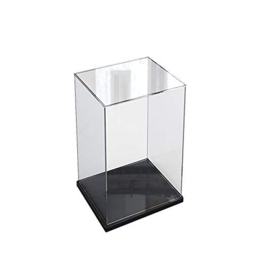 Caja de exhibición de acrílico transparente para la colección de minifiguras Lego,  caja de exhibición de almacenamiento a prueba de polvo con base para mini figuras de juguete (Negro,  10x10x20cm)