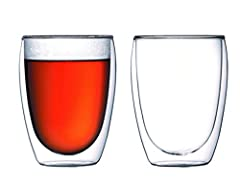 Set of Two double-wall pavina glasses, 12 ounces each; perfect for Coffee, espresso, or a multitude of other hot and cold beverages Made of mouth-blown, lab-quality borosilicate-glass construction for a durable and heat resistant glass Insulated glas...