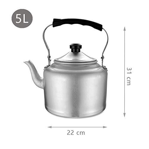 Tea Kettle Stove Top alluminio Traditiona Teiera con la maniglia Anti-calda for uso domestico Commerciale Restaurant (Color : Silver, Size : 5L)