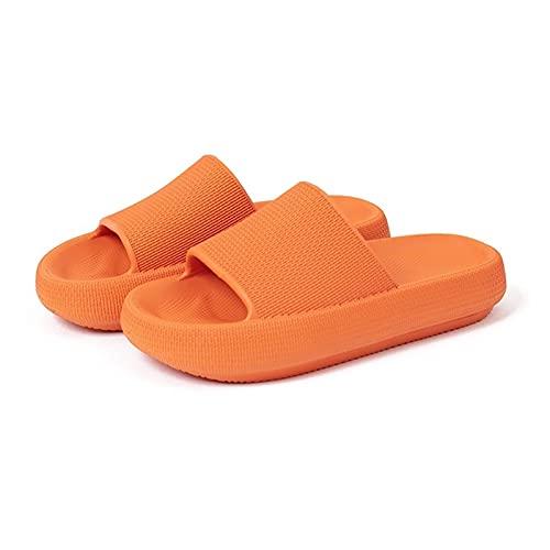 Zapatillas de almohada Slippers, hombres y mujeres Sandalias de ducha Sandalias Zapatillas con suelo de pélvico ergonómico amortiguado con amortiguador extra grueso ( Color : Orange , Size : 39-40EU )