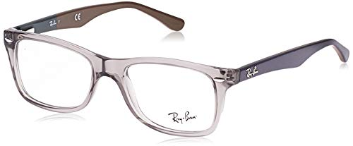 Ray-Ban RX5228 Square Prescription Eyeglass Frames, Grey/Demo Lens, 53 mm