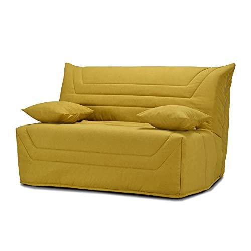 Meubletmoi CYRIAC - Banqueta de cama (140 x 190 cm, con funda de tela amarilla, colchón de 12 cm de grosor y 2 cojines decorativos, color amarillo