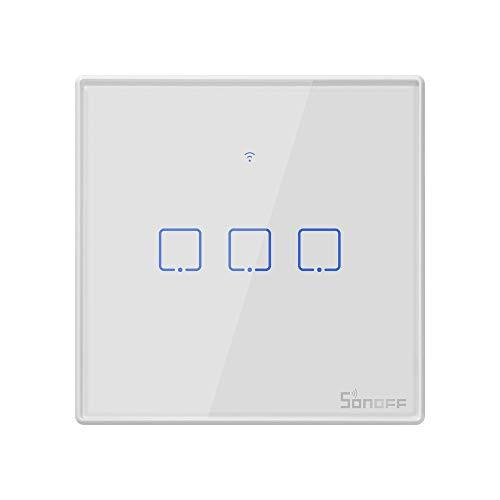 SONOFF T2EU3C Interruptor Mural para Control de Luces Inalámbrico por RF Wi-Fi Inteligente, Interruptor de Tipo 86 de 3 Canales para Soluciones de Automatización Domótica(1-way)
