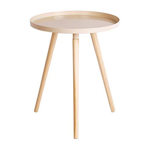 LYN Bijzettafel, ijzeren bijzettafel, ronde salontafel, kleine sofa-hoekbank met houten poten Moderne snack tafel voor woonkamer en slaapkamer