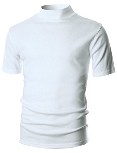 OHOO Mens Slim Fit Flice Short Sleeve Pullover Lightweight Mockneck/DCT105-WHITE-L