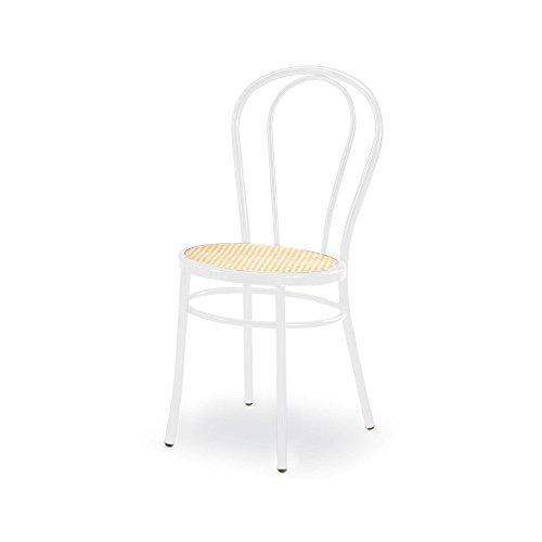 4 Stühle Bistrot, Typ Thonet, aus weißem lackiertem Metall, Sitz aus Kunststoff, Typ Wienna Stroh, Gestell aus Stahlrohr, Durchmesser 25 mm.