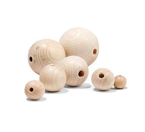 Holzperlen Natur und bunt 6/8/10/12/14/16/18/20/24 mm Holzkugeln Runde Lose Holz Perlen Zwischenperlen Schnullerketten Speichelfest (Natur Farblos, 18mm 50 Stück)