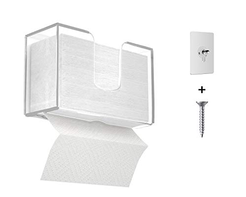 IEEK Acrylic Paper Towel Dispenser Wall Mount Paper Towels Holder for Multi-Fold Paper Towel,C-Fold,Zfold,Tri fold Hand Towel Holder Commercial,Clear Bathroom Hand Towel Dispenser,11.5x4.2x6.5 Inch