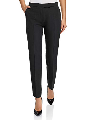 oodji Collection Donna Pantaloni Classici Stretti, Nero, IT 44 / EU 40 / M