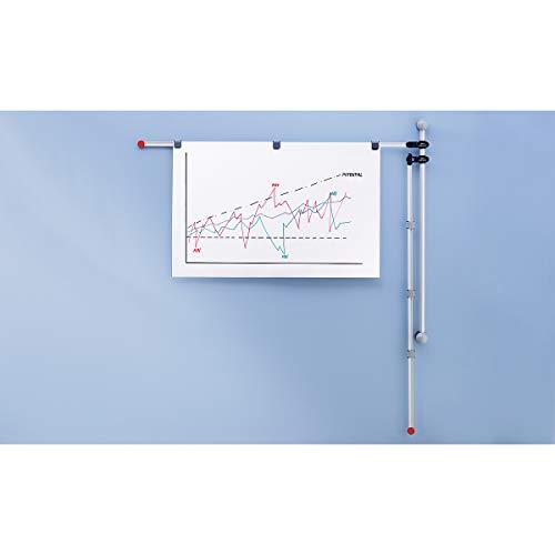 Maul - Supporto da parete con 2 bracci orientabili regolabili, 132 cm, DIN A0, con 6 clip magnetiche, in alluminio, nero/grigio