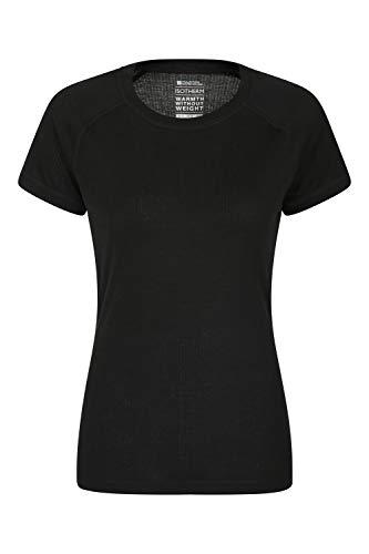 Mountain Warehouse Talus t-Shirt Mujer- Top térmico Ligero, Gran Capacidad de absorción, Transpirable, de Secado rápido, de fácil Cuidado - para el Exterior, Deportes, Invierno Negro 36