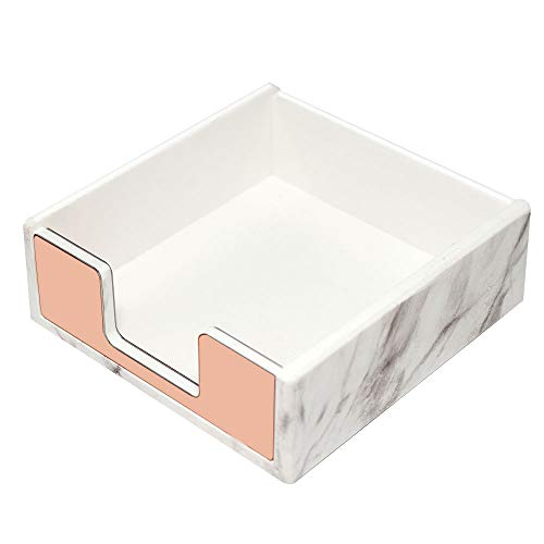 MultiBey Sticky Notes Pad Holder Memo Dispensers Rose Gold with Marble White Texture Desk Supplies Organizer Accessories (Rose Gold)