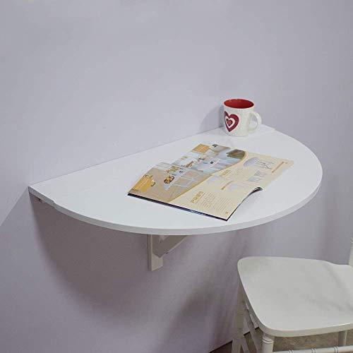 Giow Wandtisch, Klapptisch, Halbrunder Klapptisch, Küche, Schlafzimmer, Büro, Hängetisch, Weiß ohne Streifen