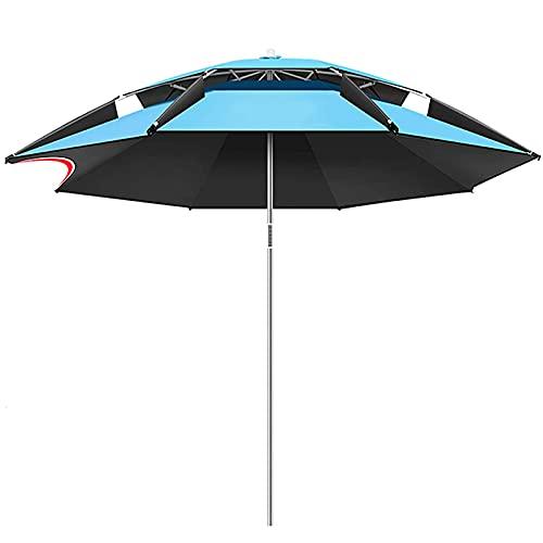 WXHXJY Sombrilla De JardíN De 2/2.2/2.4/2.6m, Parasol con Mecanismo De InclinacióN Y FuncióN De Altura Ajustable, Parasol Al Aire Libre para BalcóN/Pesca/Patio Trasero/Piscina,Blue-2.4m