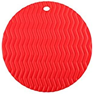 VEVICE 1PCS Silicone Pot Holder Coasters Hot Pan Holder Non-Slip Pot Mat Heat Resistant Placemat Round Placemats for Kitchen Microwave and Dishwasher Safe (Red)