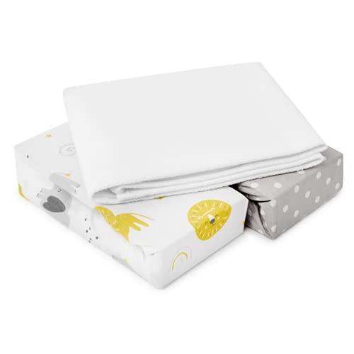 FlyIdeas Lenzuola Next2Me Set 3pz 83x50cm | 2 Lenzuola Con Angoli & 1 Coprimaterasso Impermeabile | CoSleeping UNO Magic Nanna Oh Babyside Cullami Safety 1st | 100% Cotone 160 GSM Cert. OEKO-TEX