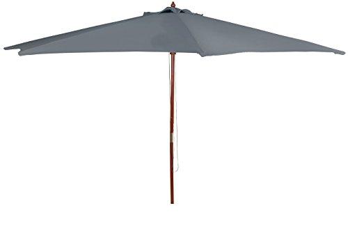 Spetebo Holz Sonnenschirm 3m anthrazit - Gartenschirm mit Seilzug - Marktschirm Schirm 300cm
