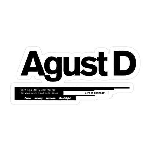Lplpol 3 pegatinas Agust D troqueladas de pared para portátil, ventana, coche, parachoques, casco, botella de agua de 4 pulgadas